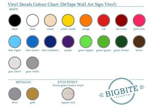 Colour palette for Vinyl Decal Stickers