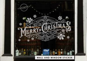 Merry Christmas Vintage Typography Banner on the Storefront Window