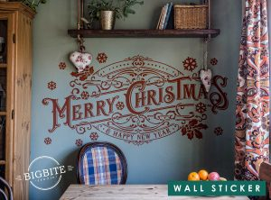 Merry Christmas Vintage Typography Banner on the Wall