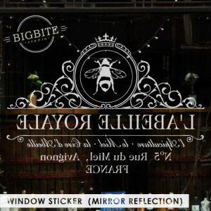 The sticker applied in mirror refection - to be used indoor, for the sticker to readable from outside.