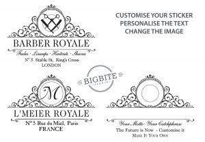 Examples of customisation of the Royal Beekeeper design, personalise your sticker.