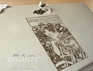 Art Nouveau Stencil - Cycles Perfecta Alphonse Mucha - preview on a bureau slope