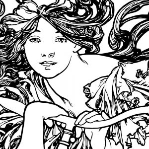 Art Nouveau Stencil - Cycles Perfecta Alphonse Mucha - detail