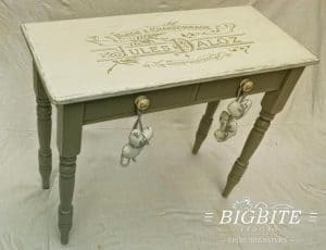 Elegant French Typography Stencil - Blacksmith Forge Advert - preview on the table top