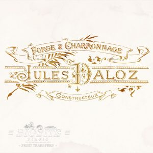 Elegant French Typography Stencil - Blacksmith Forge Advert - preview on old paper background