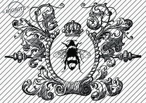 Graphic of Vintage Queen Bee in Wreath