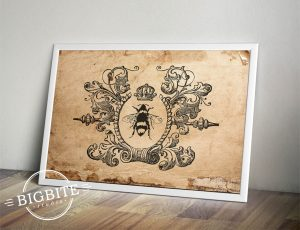 Image of Queen Bee graphic in white frame, leaning against the wall.