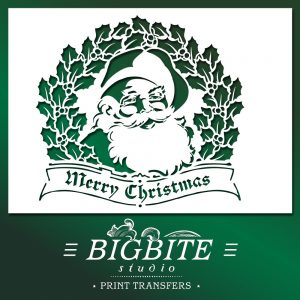 Shabby Chic Stencil - Merry Christmas Vintage Santa