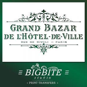 Shabby Chic Stencil Vintage Hotel de Ville Grand Bazar Advert