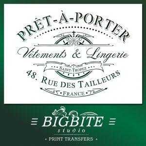 Shabby Chic Stencil Vintage Pret-a-Porter French Advert b