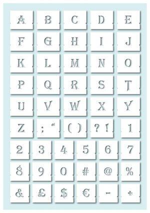 Algerian Stencil Decorative Letters Set UPPERCASE glyphs chart