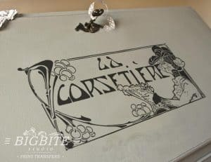 Art Deco Print Transfer - ''La Corsetiere'' Corset Maker Advert - preview bureau