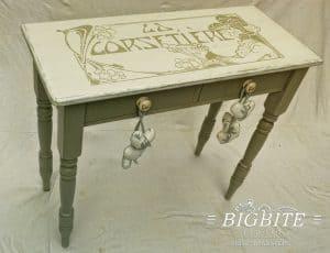 Art Deco Print Transfer - ''La Corsetiere'' Corset Maker Advert - preview table
