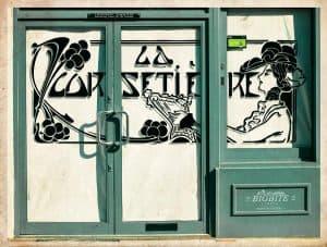 Art Deco Stencil: 'La Corsetiere' Corset Maker Advert - shop window