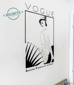Art Nouveau Vogue Magazine Cover - Vinyl Decal: preview on a wall
