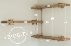 Copper and brass bookshelf with dimensions of each part attached