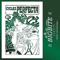 Art Nouveau Stencil - Cycles Perfecta Poster, main image on green background.