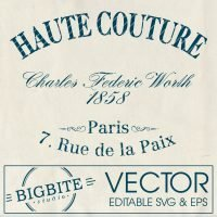 Main icon of Editable Vector Image: Vintage French Haute Couture Advert