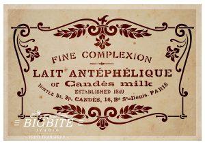 Fine Complexion, Candès Milk Cosmetics, French Vintage Advert Stencil