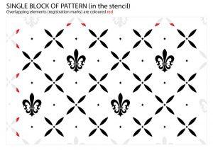 Fleur-de-Lis Cross Pattern Stencil - registration marks