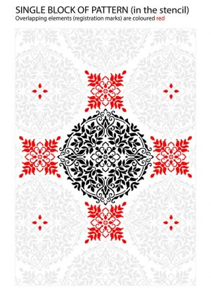 Registration Marks on Floral Mandala Stencil Pattern