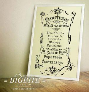 Preview of French Stencil Articles de Paris - Clouterie Advert (frame)