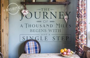 """Motivational Quote """"the journey of a thousand miles begins with juast a single step"""" on green wall with a table with fruit platter as a foreground."""