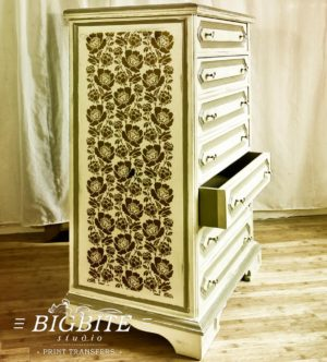Preview of Peony Flower Ornamental Pattern Stencil on a side of a chest of drawers