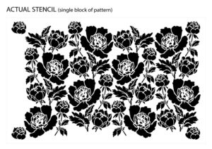Preview of actual Peony Flower Ornamental Pattern Stencil