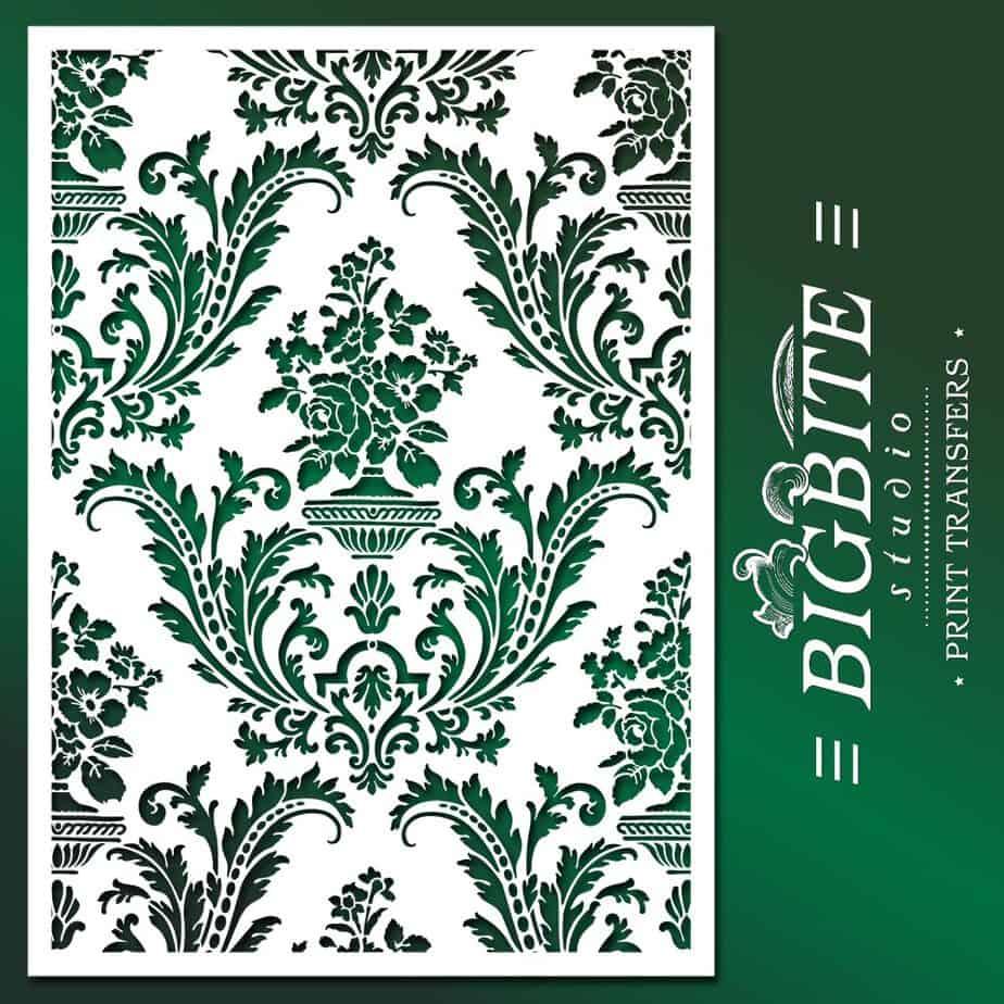 Shabby Chic Wallpaper Uk shabby chic stencil - damask wallpaper pattern 01 #036