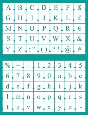 Lettering Chart Board for New Times Roman Stenciled letters