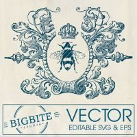 Image of editable vector - queen bee in wreath