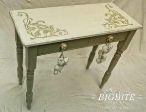 Vintage Corner Scroll - Acanthus Floral Orament Stencil - on a vintage table