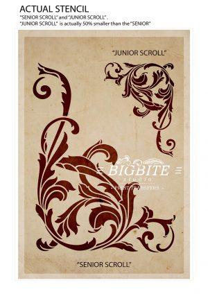 "Vintage Corner Scroll - Acanthus Floral Orament Stencil - ""SENIOR SCROLL"" & ""JUNIOR SCROLL"""
