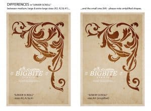 Vintage Corner Scroll - Acanthus Floral Orament Stencil - differences between particular sizes