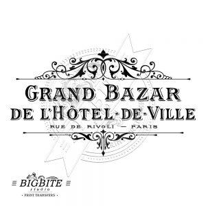 vintage hotell de ville - grand bazar - print transfer