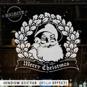 Window Sticker Preview: Santa Merry Christmas Seasonal Greetings