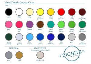 Vinyl Decal Colour Palette