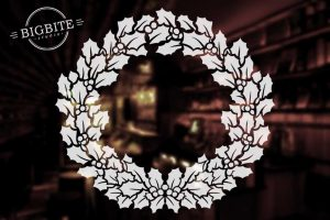 Holy Wreath Christmas Decal: preview on a mirror