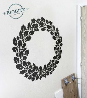 Holy Wreath Christmas Decal: preview on a wall